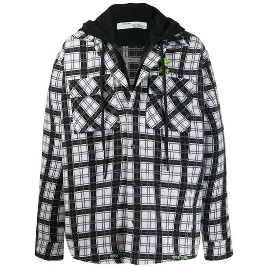 Off-White White Check Pattern Layered Shirt Jacket