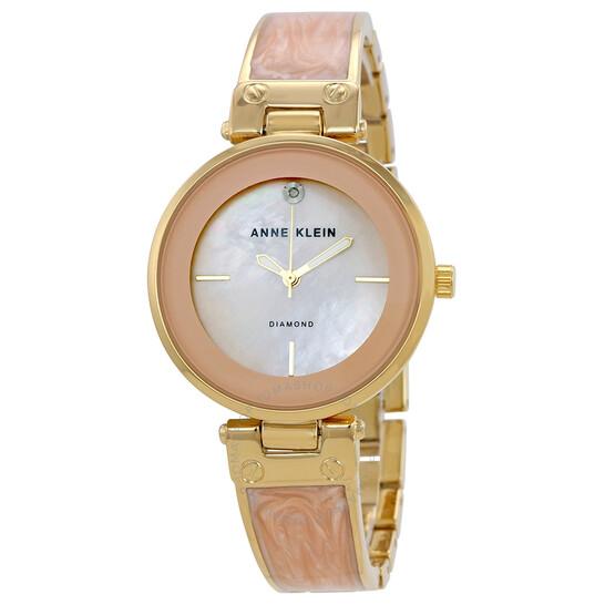 Anne Klein Open Box - Anne Klein Blush Mother Of Pearl Dial Ladies Bangle Watch 2512LPGB | Joma Shop