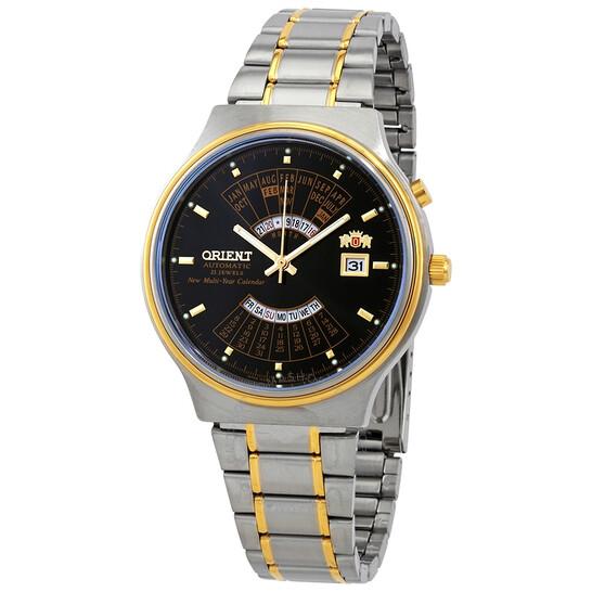 Orient Multi Year Calendar Perpetual World Time Automatic Black Dial Men's Watch FEU00000BW | Joma Shop