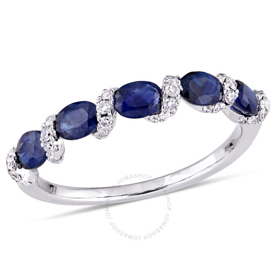Amour Oval Blue Sapphire and 1/4 CT TW Diamond Ribbon Ring   Joma Shop