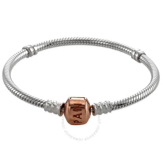 Pandora Sterling Silver And 14k Rose Gold Moments Snake Chain Bracelet Size 16 580702 16 Ladies Jewelry Pandora Jomashop
