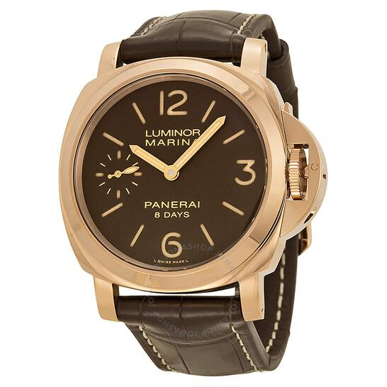 Panerai Luminor Marina Brown Dial 18kt Rose Gold Men's Watch PAM00511 | Joma Shop