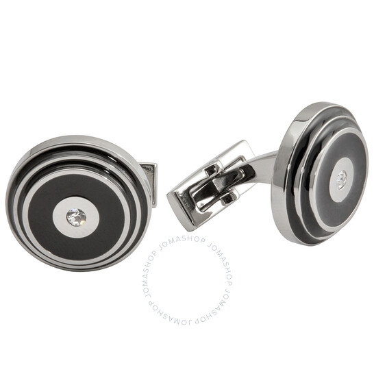 Picasso And Co Round Stainless Steel/Black Laquer Cufflinks | Joma Shop