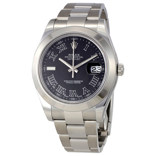 Rolex Pre-Owned Rolex Datejust II Automatic Black Dial Stainless Steel Rolex Oyster Men's Watch 116300BKRO   Joma Shop