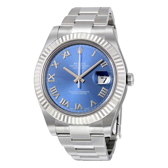 Rolex Pre-owned Rolex Datejust II Automatic Blue Dial Stainless Steel Oyster Bracelet Men's Watch 116334BLRO   Joma Shop
