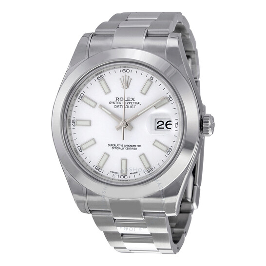 Rolex Pre-owned Rolex Datejust II White Dial Stainless Steel Oyster Bracelet Automatic Men's Watch 116300WSO | Joma Shop