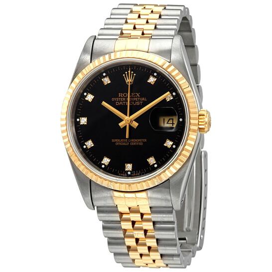 Rolex Pre-owned Rolex Oyster Perpetual Datejust 36 Automatic Diamond Black Dial Men's Watch 16233 BKDJ | Joma Shop