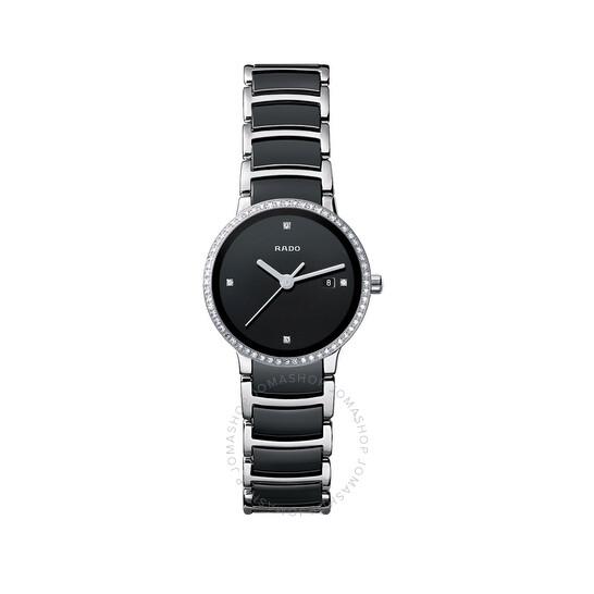 Rado Centrix Quartz Black Dial Steel and Ceramic Ladies Watch R30933712   Joma Shop
