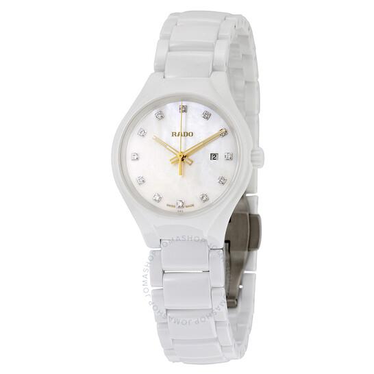 Rado True Quartz MOP Dial High-tech White Ceramic Ladies Watch R27061902 | Joma Shop