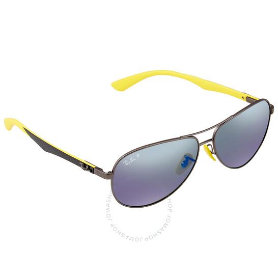 Ray-Ban Scuderia Ferrari Grey Mirror Blue Aviator Men's Sunglasses
