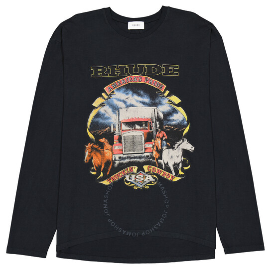 Rhude Black Truckin Cowboy Print Top