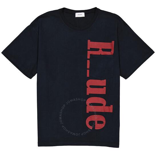 Rhude Mens Black Logo-print Cotton T-shirt