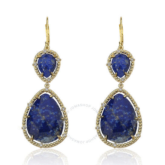 Riccova Gem Stone 14K Gold Plated Cubic Zirconia Trimmed Precious Lapis Double Drop Large Dangle Earring | Joma Shop