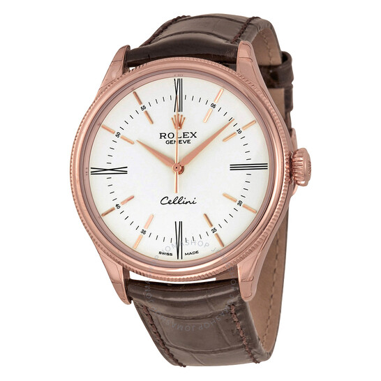 Rolex Cellini White Dial 18K Rose Gold Leather Men's Watch 50505WSRL   Joma Shop