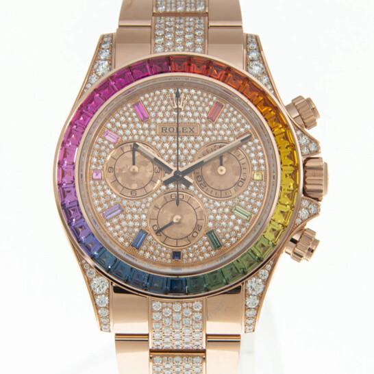 Rolex Cosmograph Daytona Chronograph Automatic Rainbow Pave Watch 116595RBOW-0002   Joma Shop