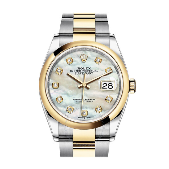 Rolex Datejust 36 Mother of Pearl Diamond Dial Men's Steel and 18k Yellow Gold Oyster Watch 126203MDO | Joma Shop
