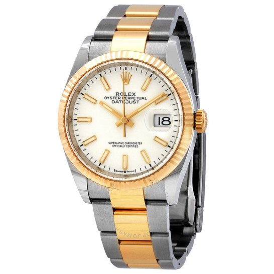 Rolex Datejust 36 White Dial Men's Stainless Steel and 18kt Yellow Gold Oyster Watch 126233WSO   Joma Shop