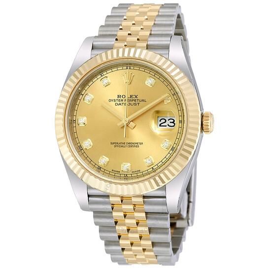 Rolex Datejust 41 Champagne Diamond Steel and 18K Yellow Gold Jubilee Men's Watch 126333CDJ   Joma Shop