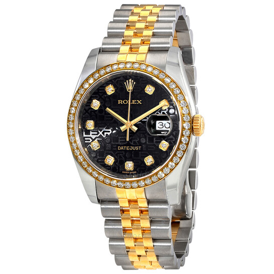 Rolex Datejust Black Dial Ladies 18 Carat Yellow Gold and Stainless Steel Watch 116243BKJDJ | Joma Shop