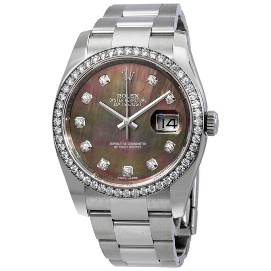 Rolex Datejust Black Mother of Pearl Diamond Dial Automatic Ladies Oyster Watch 116244BMDO | Joma Shop