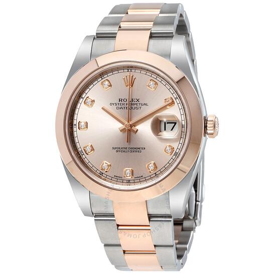 Rolex Datejust Sundust Diamond Dial Steel and 18K Everose Gold Men's Watch 126301SNDO   Joma Shop