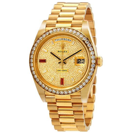Rolex Day-Date 40 Automatic Gold Diamond Pave Dial Men's 18kt Yellow Gold President Watch 228348rbr-0030   Joma Shop