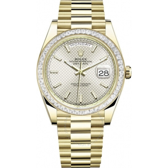 Rolex Day Date 40 Automatic Silver Diagonal-Motif Dial Men's 18kt Yellow Gold President Watch 228398SSP   Joma Shop