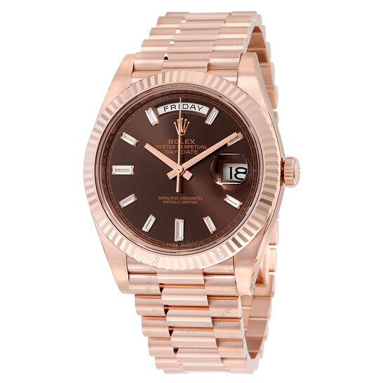 Rolex Day-Date 40 Chocolate Dial 18K Everose Gold President Automatic Men's Watch 228235CHDP   Joma Shop