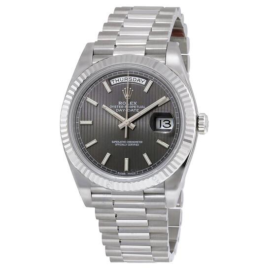Rolex Day-Date 40 Dark Rhodium Stripe Motif Dial 18K White Gold President Automatic Men's Watch 228239RSSP | Joma Shop