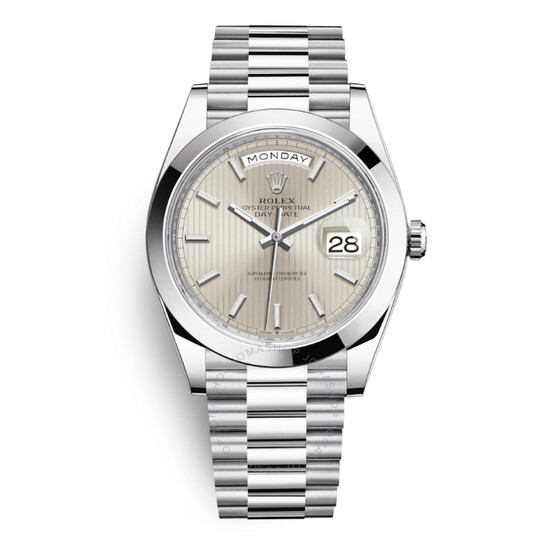 Rolex Day Date 40 Silver Dial Automatic Men's Platinum President Watch 228206SSP   Joma Shop