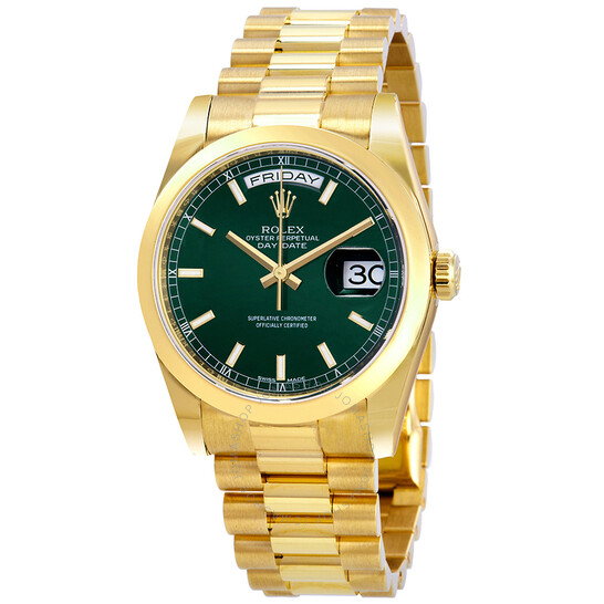 Rolex Day-Date Automatic Green Dial Men's 18kt Yellow Gold President Watch 118208GNSP   Joma Shop