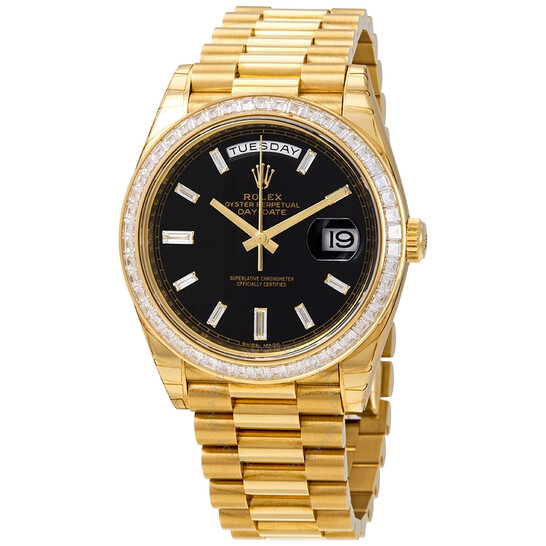 Rolex Day-Date Black Dial 18K Yellow Gold President Automatic Men's Watch 228398BKDP | Joma Shop