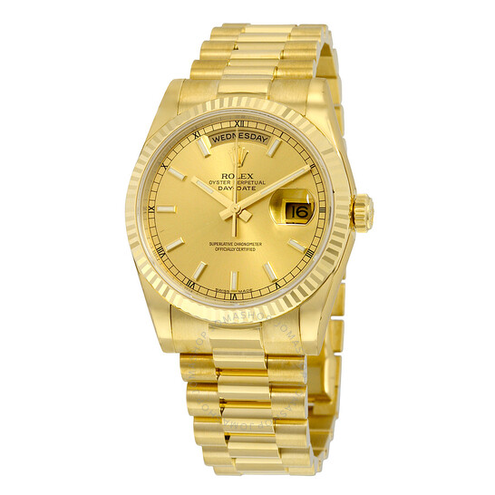 Rolex Day Date Champagne Dial 18k Yellow Gold President Automatic Men S Watch 118238csp 118238cs Rolex Day Date Jomashop