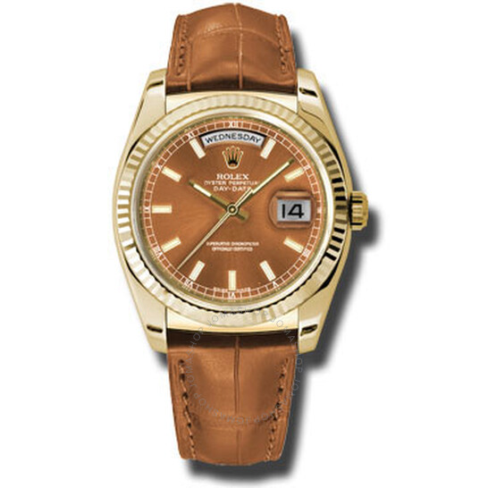 Rolex Day Date Cognac Dial 18K Yellow Gold Leather Men's Watch 118138COL   Joma Shop