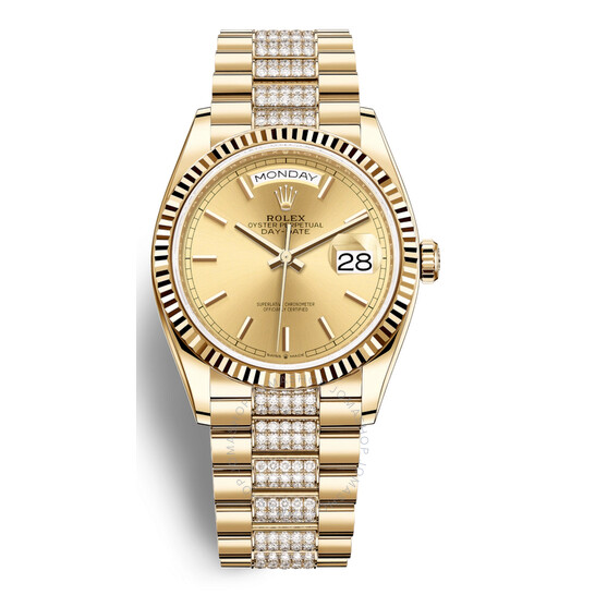Rolex Day-Date 36 Champagne Dial 18kt Yellow Gold Diamond-Set President Watch 128238CSDP   Joma Shop