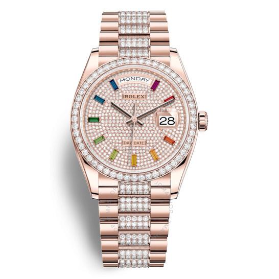 Rolex Day-Date 36 Paved Dial 18kt Everose Gold Diamond Set President Watch 128345DSDP | Joma Shop