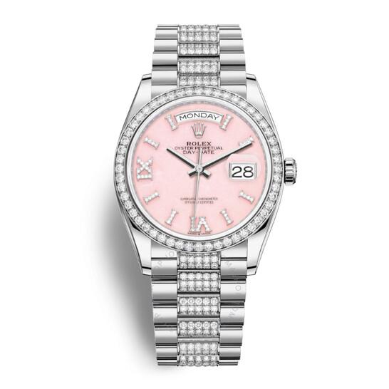 Rolex Day-Date 36 Pink Opal Dial 18kt White Gold Diamond- Set President Watch 128349PRSDDP | Joma Shop