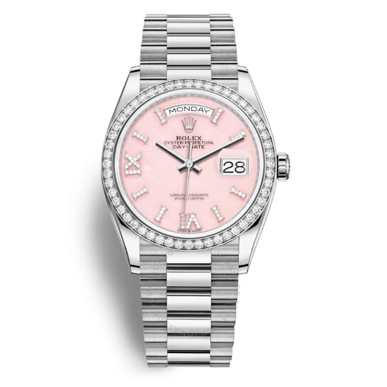 Rolex Day-Date 36 Pink Opal Diamond Dial 18kt White Gold President Watch 128349PRSDP   Joma Shop