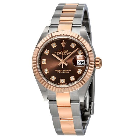 Rolex Lady Datejust 28 Chocolate Diamond Dial Automatic Two-tone Ladies Watch 279171CHDO   Joma Shop