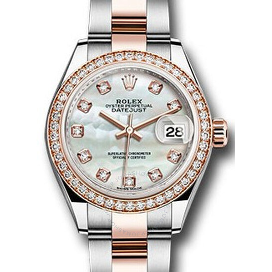 Rolex Lady Datejust Mother Of Pearl Steel And 18k Everose Gold Diamond Watch 279381MDO   Joma Shop