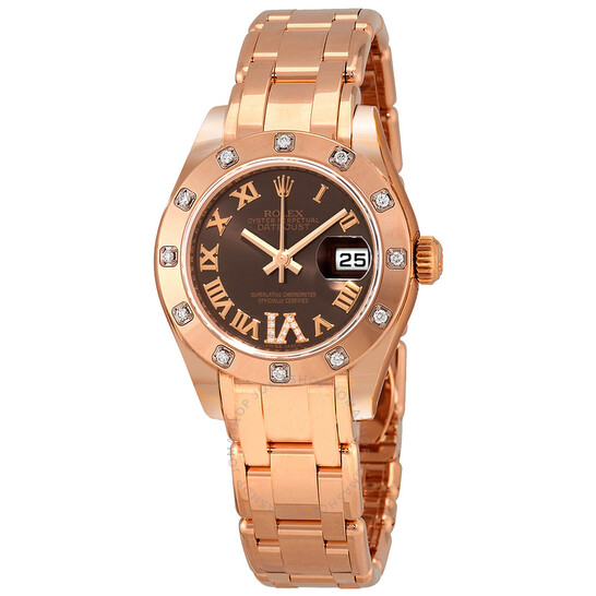 Rolex Lady-Datejust Pearlmaster Chocolate Brown Dial 18K Everose Gold Automatic Ladies Watch 80315BRRDPM | Joma Shop