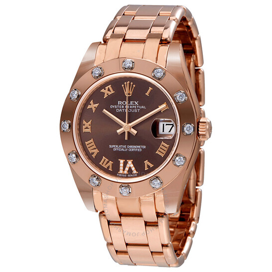 Rolex Lady-Datejust Pearlmaster Chocolate Dial 18K Everose Gold Automatic Ladies Watch 81315BRRDPM | Joma Shop