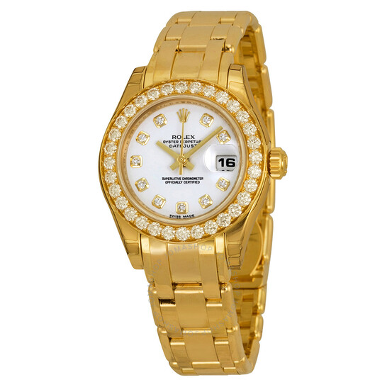 Rolex Lady-Datejust Pearlmaster White Diamond Dial 18K Yellow Gold Automatic Ladies Watch 80298WDPM   Joma Shop