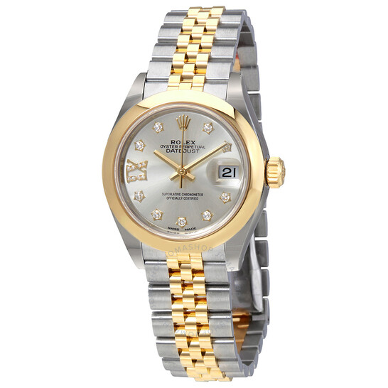 Rolex Lady Datejust Silver Dial Roman Numeral Diamond Ladies Watch 279163SDRJ   Joma Shop