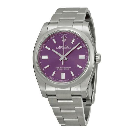 Rolex Oyster Perpetual 36 mm Purple Dial Stainless Steel Bracelet Men's Watch 116000PUSO | Joma Shop