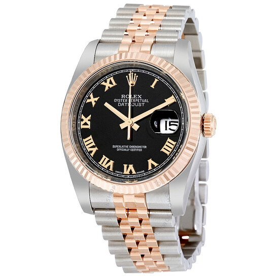 Rolex Oyster Perpetual Datejust 36 Black Dial Stainless Steel and 18K Everose Gold Jubilee Bracelet Automatic Men's Watch 116231BKRJ | Joma Shop