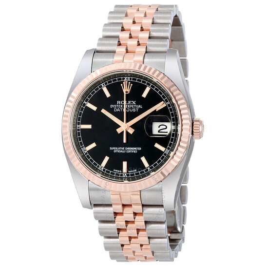 Rolex Oyster Perpetual Datejust 36 Black Dial Stainless Steel and 18K Everose Gold Jubilee Bracelet Automatic Men's Watch 116231BKSJ   Joma Shop