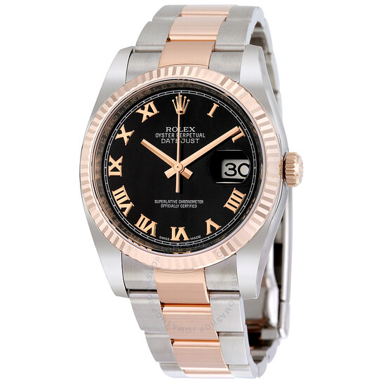 Rolex Oyster Perpetual Datejust 36 Black Dial Stainless Steel and 18K Everose Gold Bracelet Automatic Men's Watch 116231BKRO | Joma Shop