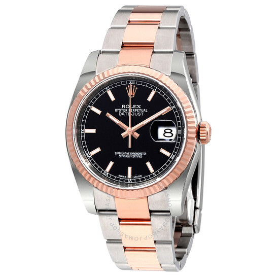 Rolex Oyster Perpetual Datejust 36 Black Dial Stainless Steel and 18K Everose Gold Bracelet Automatic Men's Watch 116231BKSO   Joma Shop