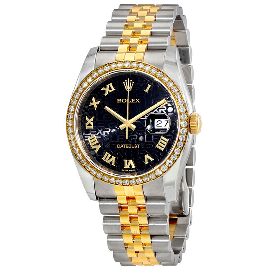Rolex Oyster Perpetual Datejust 36 Black Dial Stainless Steel and 18K Yellow Gold Jubilee Bracelet Automatic Men's Watch 116243BKJRJ   Joma Shop